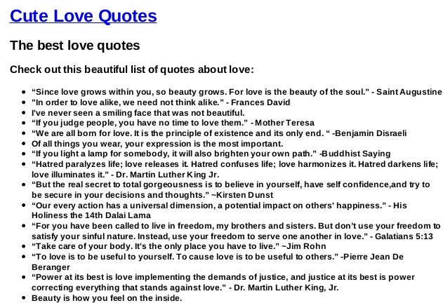 list with the best love quotes