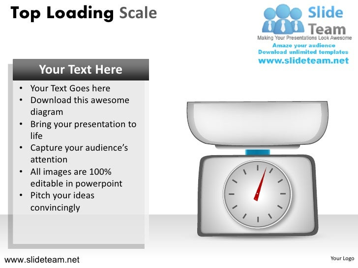 Top loading weighing scale powerpoint presentation slides