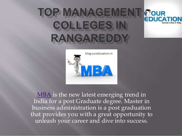 MBA is the new latest emerging trend in India for a post Graduate degree. Master in business administration is a post grad...