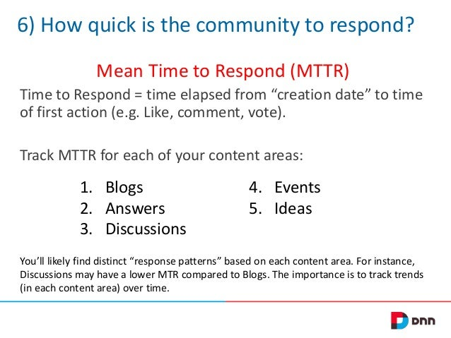"""6) How quick is the community to respond? Mean Time to Respond (MTTR) Time to Respond = time elapsed from """"creation date"""" ..."""