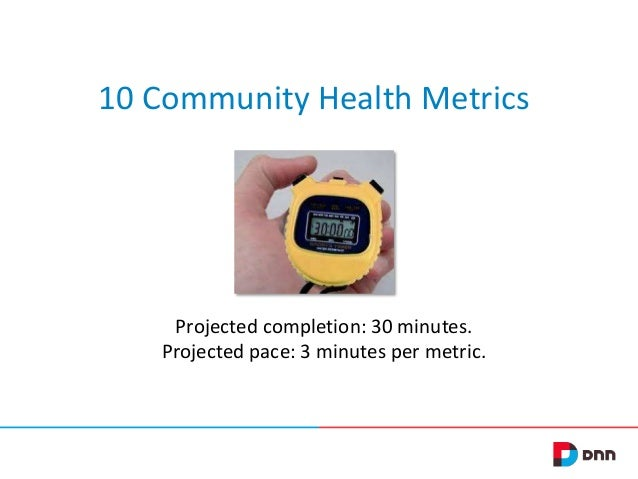 10 Community Health Metrics  Projected completion: 30 minutes. Projected pace: 3 minutes per metric.