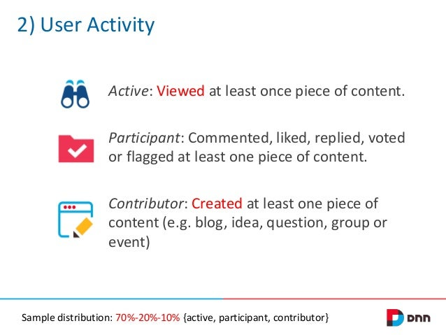 2) User Activity Active: Viewed at least once piece of content. Participant: Commented, liked, replied, voted or flagged a...