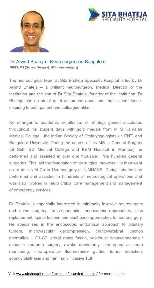 Top Neurosurgeon in Bangalore - Dr Arvind Bhateja
