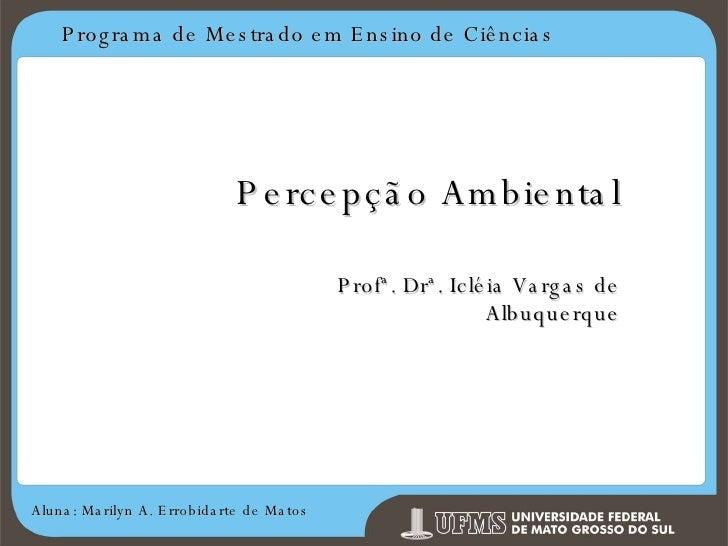 Programa de Mestrado em Ensino de Ciências Aluna: Marilyn A. Errobidarte de Matos Percepção Ambiental Profª. Drª. Icléia V...