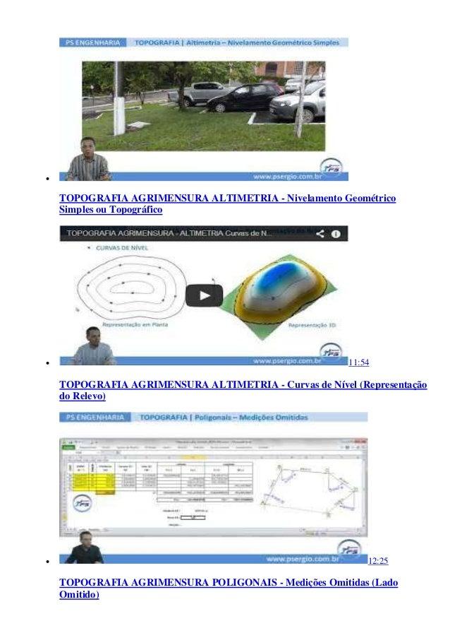  TOPOGRAFIA AGRIMENSURA ALTIMETRIA - Nivelamento Geométrico Simples ou Topográfico  11:54 TOPOGRAFIA AGRIMENSURA ALTIMET...