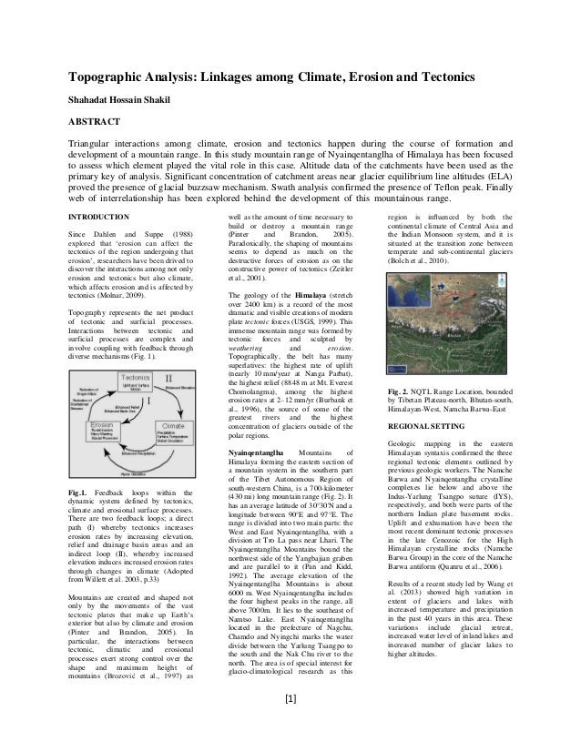 Topographic Analysis: Linkages among Climate, Erosion and Tectonics Shahadat Hossain Shakil ABSTRACT Triangular interactio...