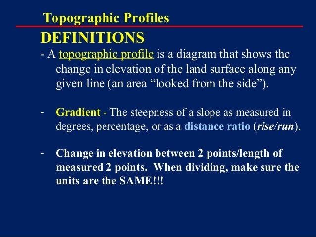 Topographic Maps Notes on