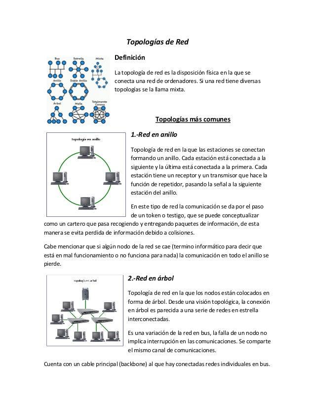 Topologías de Red Definición La topología de red es la disposición física en la que se conecta una red de ordenadores. Si ...