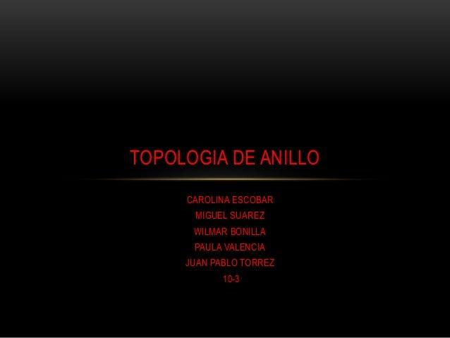 CAROLINA ESCOBAR MIGUEL SUAREZ WILMAR BONILLA PAULA VALENCIA JUAN PABLO TORREZ 10-3 TOPOLOGIA DE ANILLO