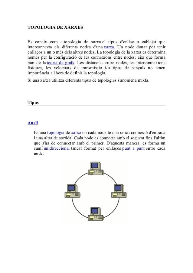 TOPOLOGIA DE XARXESEs coneix com a topologia de xarxa el tipus denllaç o cablejat queinterconnecta els diferents nodes dun...