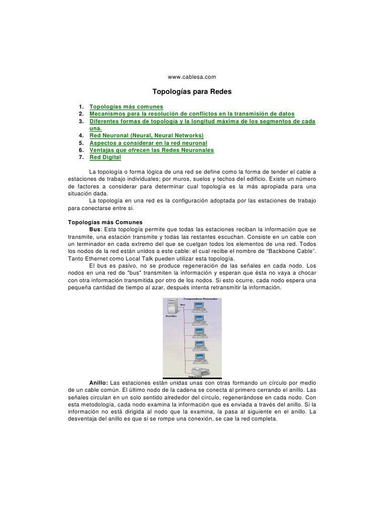 www.cablesa.com                               Topologías para Redes    1. Topologías más comunes    2. Mecanismos para la ...