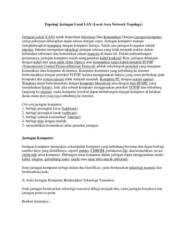 Topologi Jaringan Local LAN (Local Area Network Topology) Jaringan Lokal (LAN) untuk Keperluan Informasi Dan Komunikasi De...