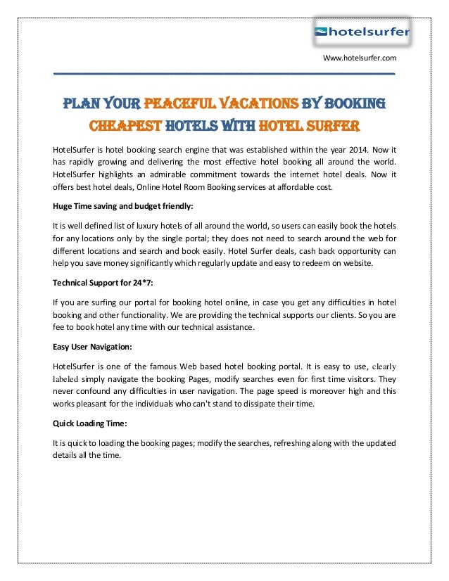 Plan Your Peaceful Vacations By Booking Cheapest Hotels With Hotel Su