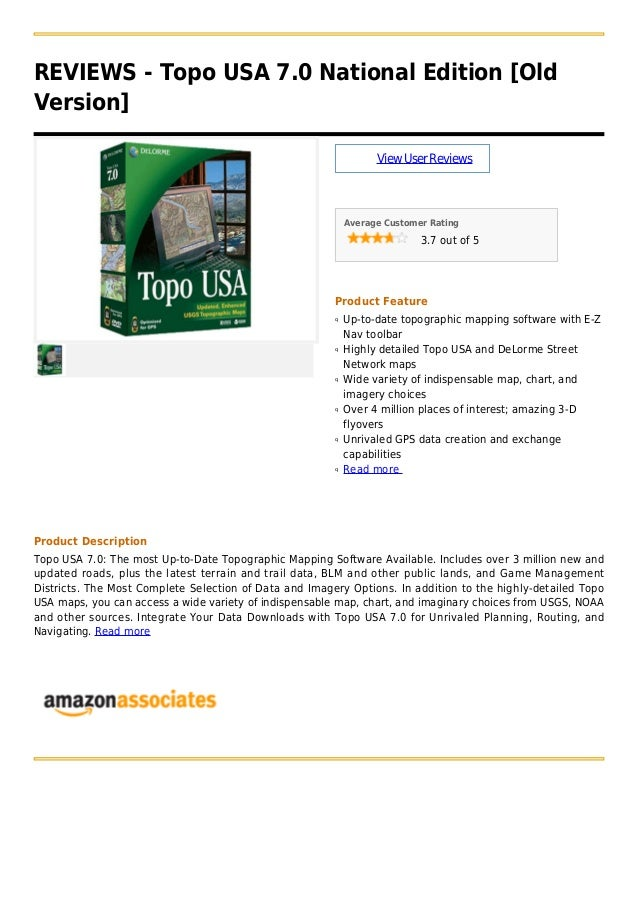 REVIEWS - Topo USA 7.0 National Edition [OldVersion]ViewUserReviewsAverage Customer Rating3.7 out of 5Product FeatureUp-to...