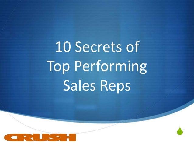 S 10 Secrets of Top Performing Sales Reps