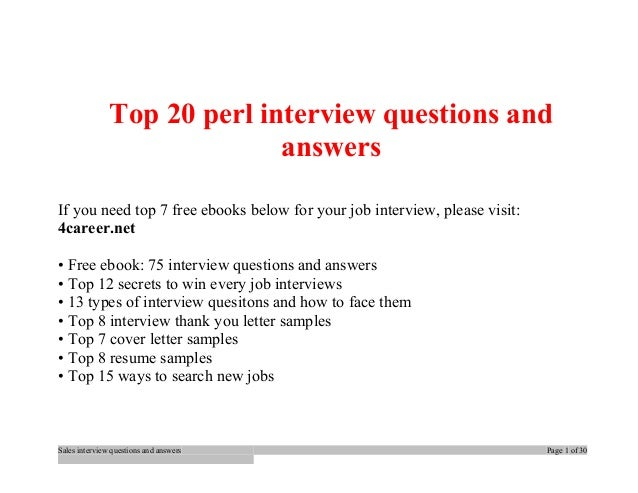 Top 20 Perl Interview Questions And Answers If You Need Top 7 Free Ebooks  Below For ...