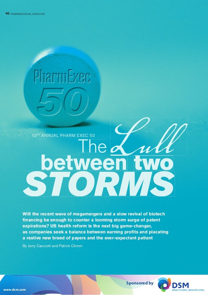 40 PHARMACEUTICAL EXECUTIVE                         PHARMACEUTICAL EXECUTIVE                  12 TH ANNUAL PHARM EXEC 50  ...
