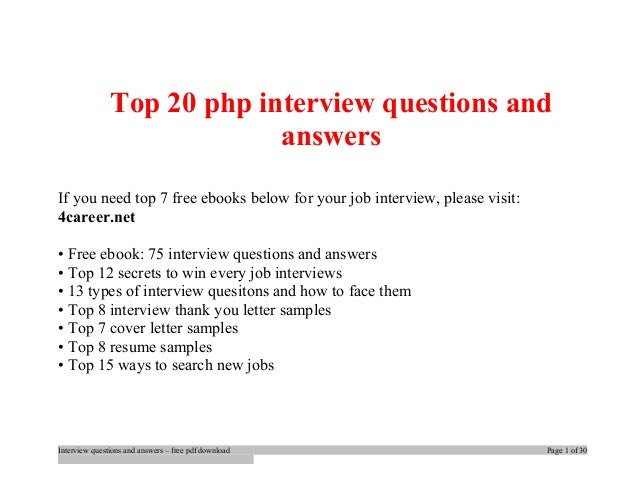Php Interview Question And Answer Pdf