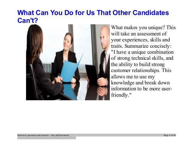 Wonderful Interview Questions And Answers U2013 Free Pdf Download Page 3 Of 30; 4. What Can  You Do For Us That Other Candidates Canu0027t?