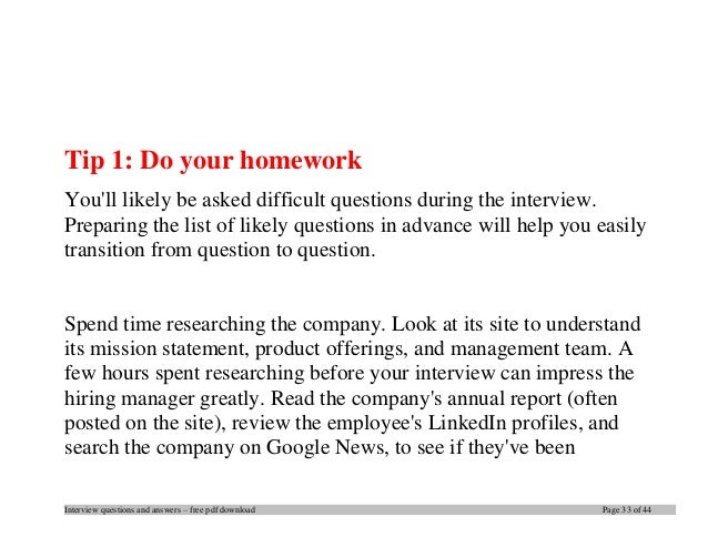 standard interview questions and answers pdf