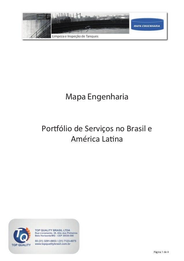 Página 1 de 4 Mapa Engenharia Portfólio de Serviços no Brasil e América Latina