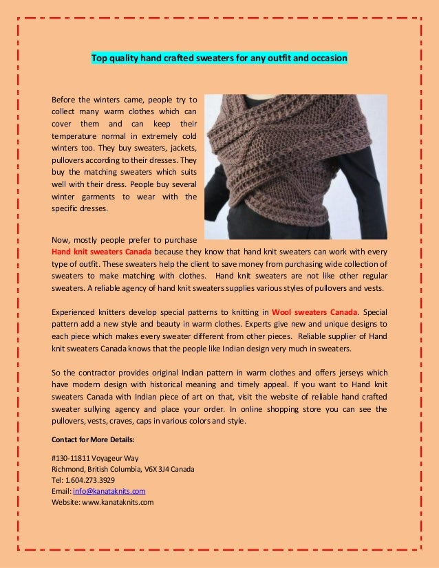 Top Quality Hand Crafted Sweaters For Any Outfit And Occasion