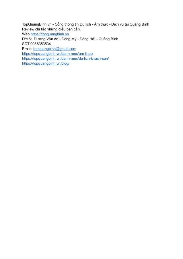 TopQuangBinh.vn - Cổng thông tin Du lịch - Ẩm thực - Dịch vụ tại Quảng Bình. Review chi tiết những điều bạn cần. Web https...