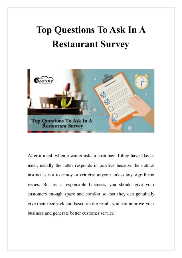 top questions to ask in a restaurant survey