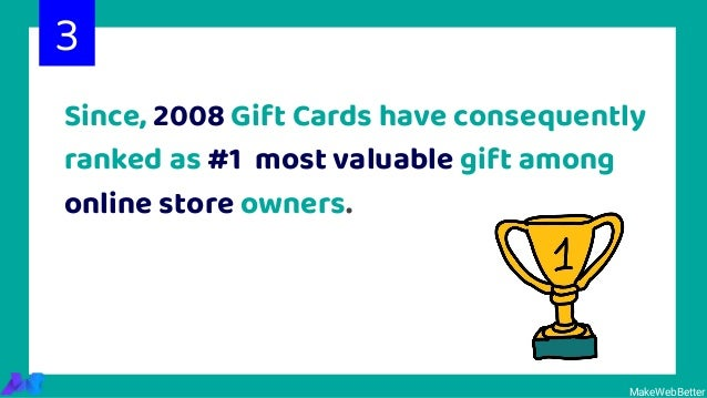 Since, 2008 Gift Cards have consequently ranked as #1 most valuable gift among online store owners. 3 MakeWebBetter