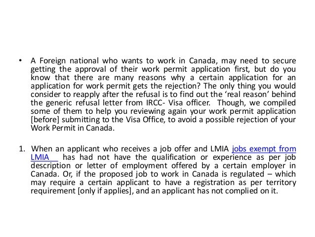 Top Reasons to Avoid Refusal of your Work Permit Application in Canada Slide 2