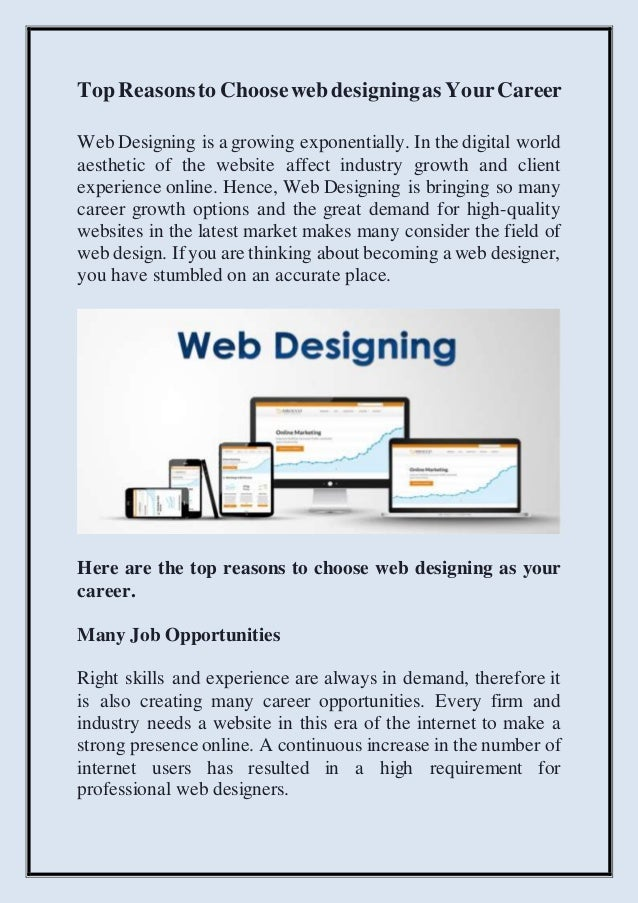 Top Reasons To Choose Web Designing As Your Career