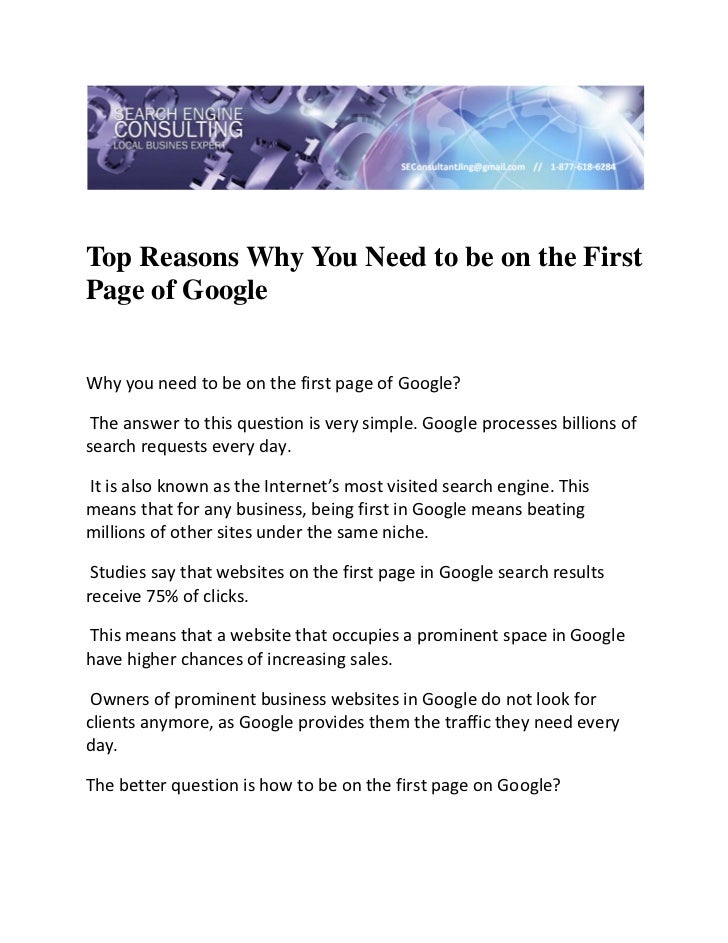 Top Reasons Why You Need to be on the FirstPage of GoogleWhy you need to be on the first page of Google?  The answer to ...