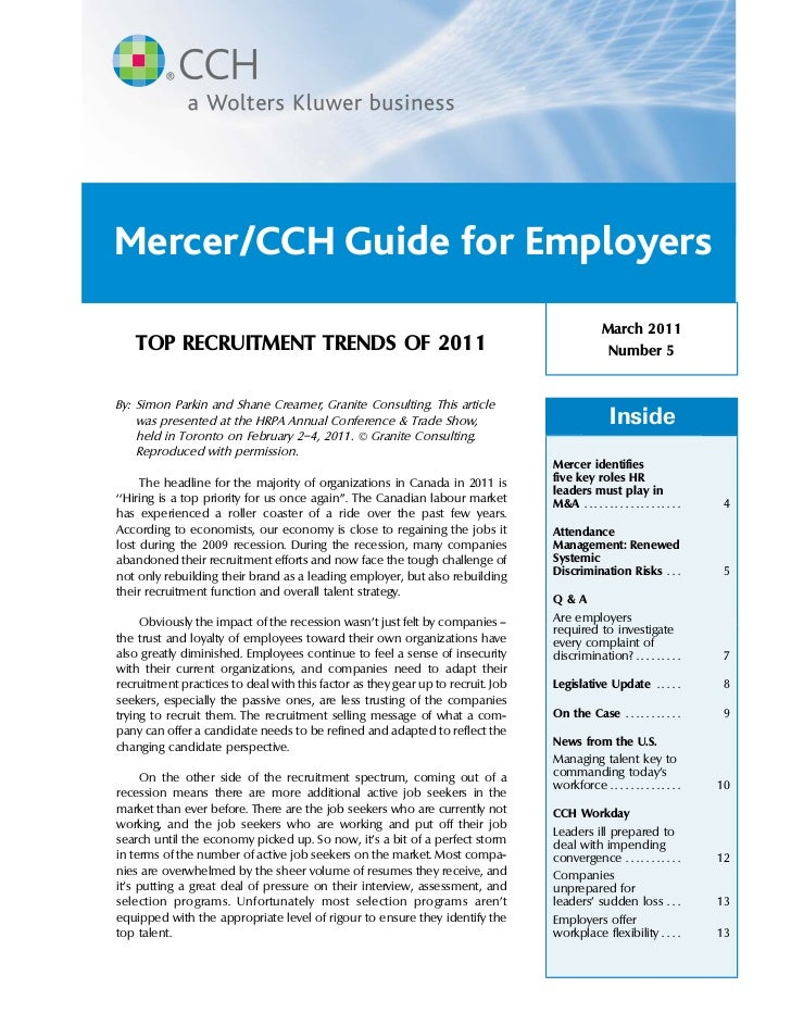 Mercer/CCH Guide for Employers                                                                                            ...