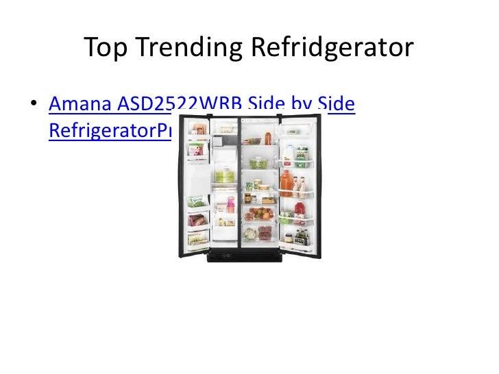Top Trending Refridgerator• Amana ASD2522WRB Side by Side  RefrigeratorPrice: $899.00