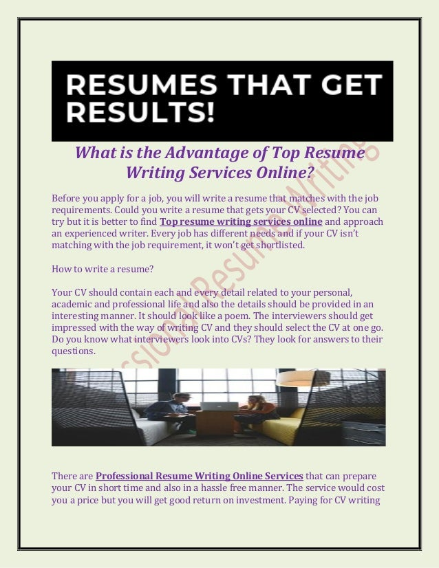 What Is The Advantage Of Top Resume Writing Services Online