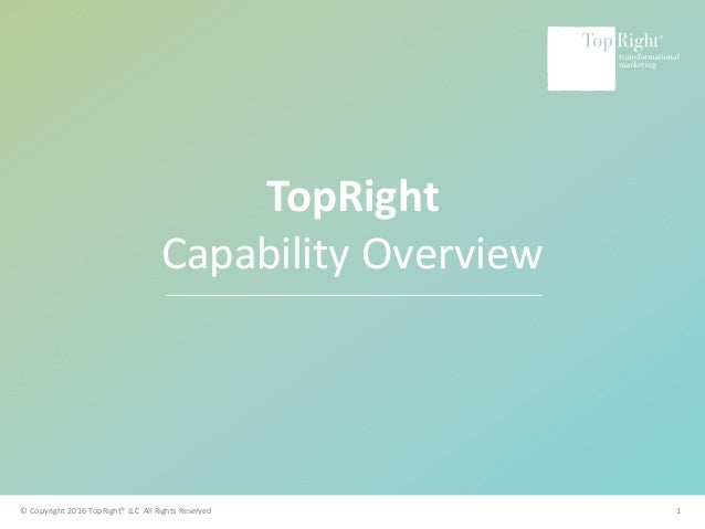 ©Copyright2016TopRight®LLCAllRightsReserved www.toprightpartners.com 1 TopRight CapabilityOverview