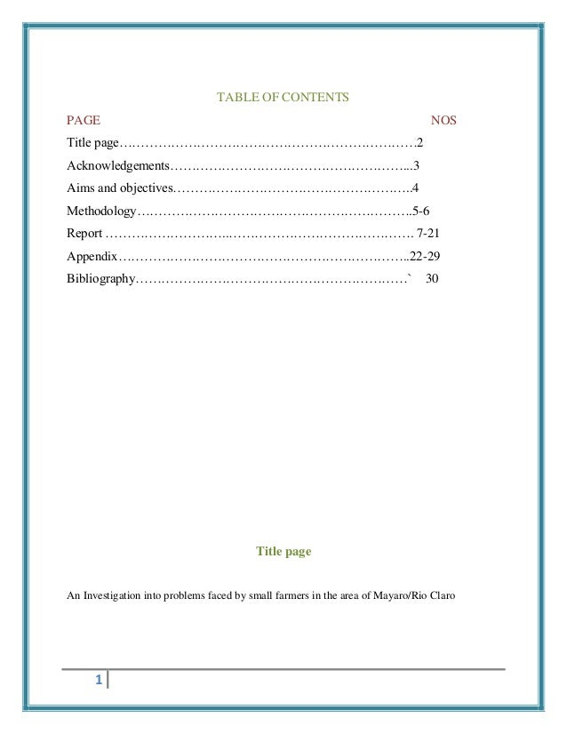 TABLE OF CONTENTS PAGE  NOS  Title page……………………………………………………………2 Acknowledgements………………………………………………...3 Aims and objectives...