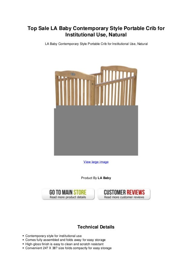Top Sale La Baby Contemporary Style Portable Crib For Institutional U