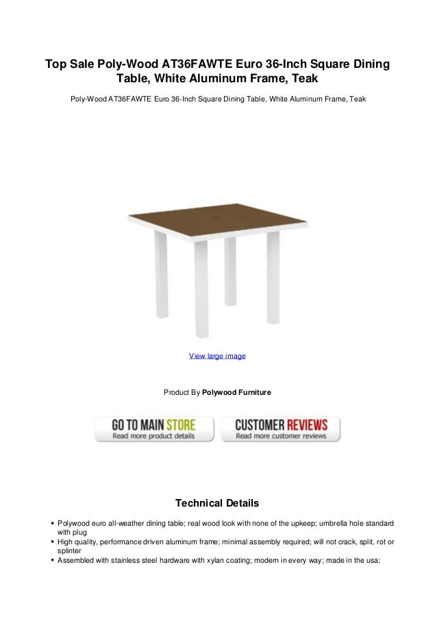 36 inch square dining table kitchen top sale polywood at36fawte euro 36inch square diningtable white aluminum frame sale poly wood at36 fawte euro 36inch square dining table white u2026