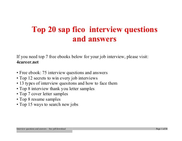 Top 20 Sap Fico Interview Questions And Answers If You Need Top 7 Free  Ebooks Below ...