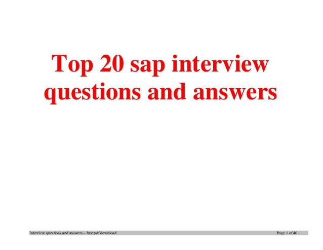 Sap Abap Interview Questions And Answers Pdf