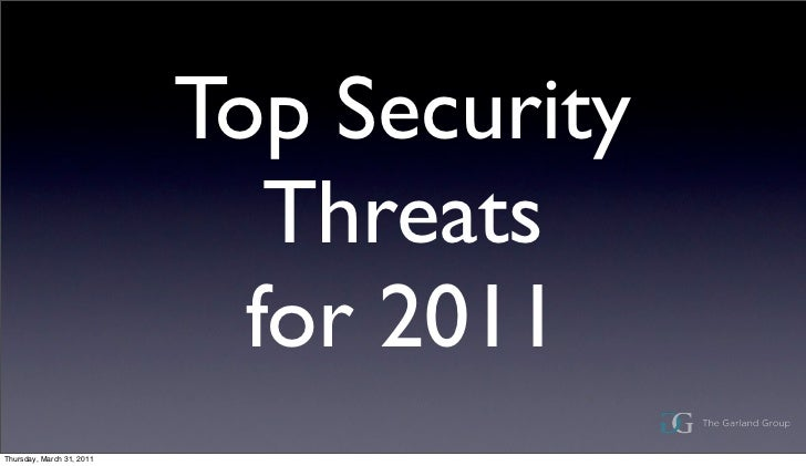 Top Security                              Threats                             for 2011Thursday, March 31, 2011