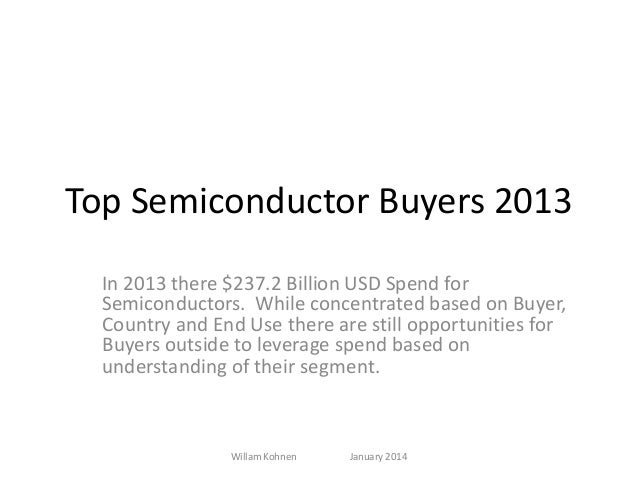 Top Semiconductor Buyers 2013 In 2013 there $237.2 Billion USD Spend for Semiconductors. While concentrated based on Buyer...