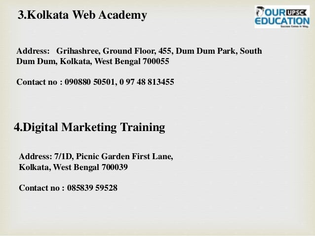3.Kolkata Web Academy Address: Grihashree, Ground Floor, 455, Dum Dum Park, South Dum Dum, Kolkata, West Bengal 700055 Con...