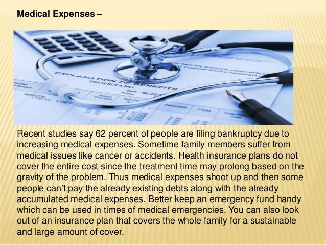 Medical Expenses – Recent studies say 62 percent of people are filing bankruptcy due to increasing medical expenses. Somet...