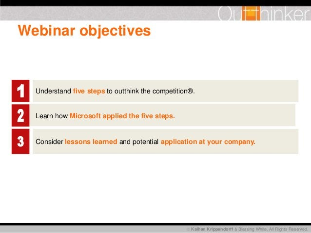 Kaihan Krippendorff & Blessing White, All Rights Reserved. Webinar objectives Understand five steps to outthink the comp...
