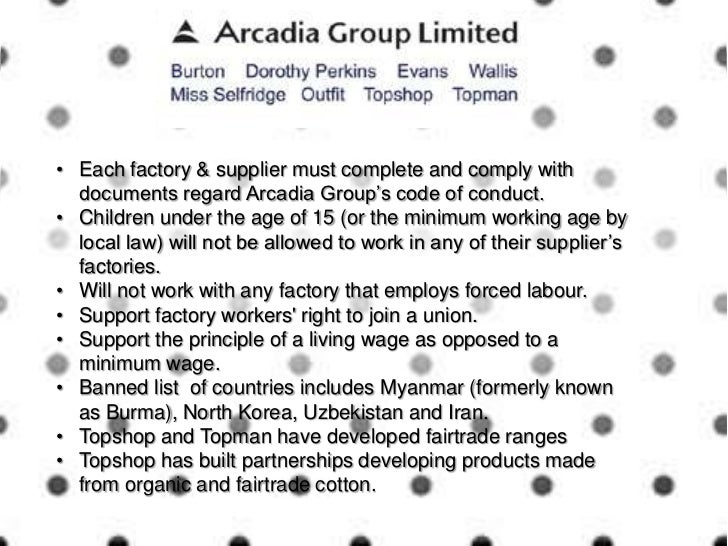 Topshop and the arcadia group for Arcadis group