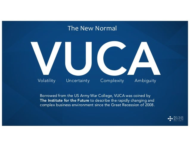 VUCABorrowed from the US Army War College, VUCA was coined by The Institute for the Future to describe the rapidly changin...