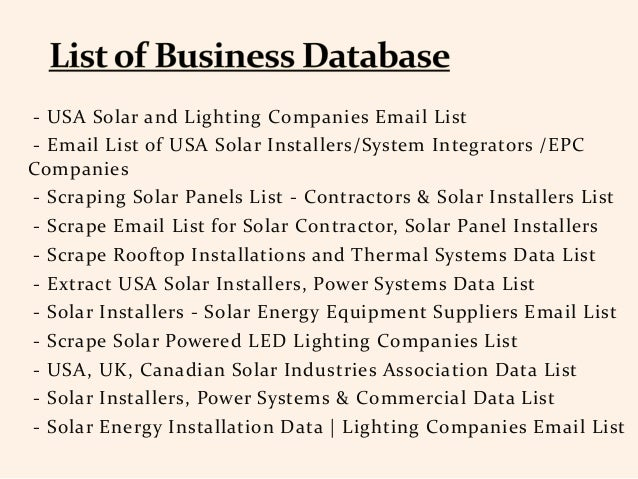 Top Solar Panel Companies Email List in The World