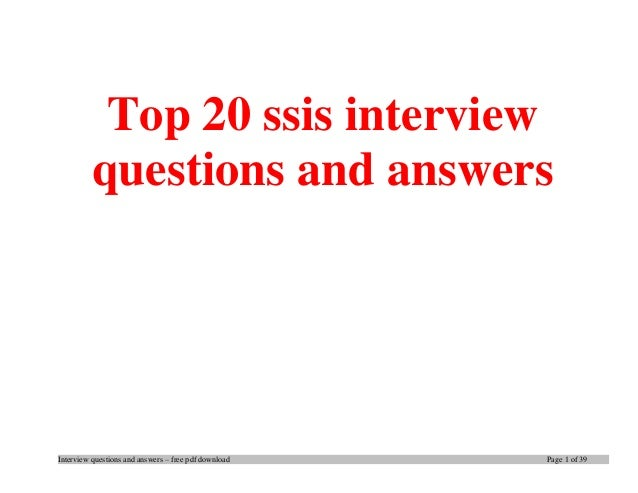 Top 20 ssis interview questions and answers pdf ebook free